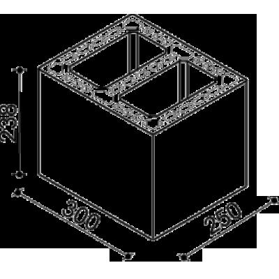 Блок вентиляционный керамический 300х250х238 мм Kerapor BVt25-2 Simpras. Схема