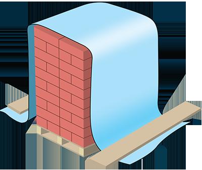 Защита штабелированного кирпича от влаги и промерзания