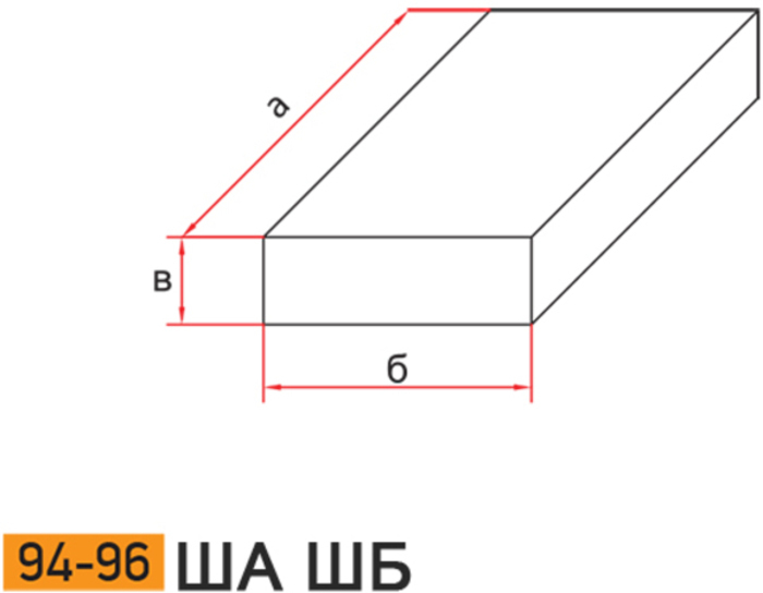 Плита огнеупорная шамотная ША ШБ 94-96 схема
